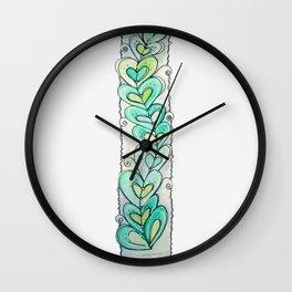 Leafy Hearts Wall Clock
