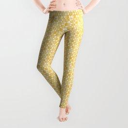 Mustard Yellow and White Hexagon Pattern Leggings