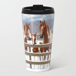 Chestnut Paint Horses In Snow Travel Mug