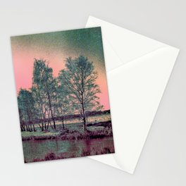 Abstract Winter Landscape, Sun and Birch Trees Stationery Cards
