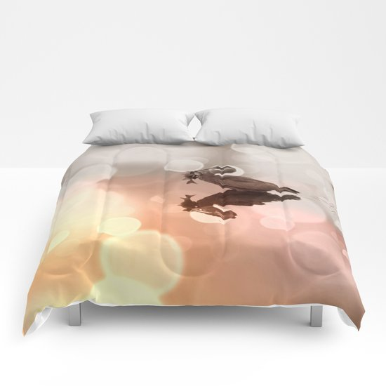 Great Blue Heron Hunter Reflection Comforters