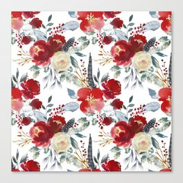 Botanical red ivory teal watercolor roses floral Canvas Print