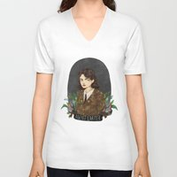 peggy carter V-neck T-shirts featuring Agent Carter by amanda herzman