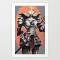 knight Art Prints featuring knight by Jelena Haeschke