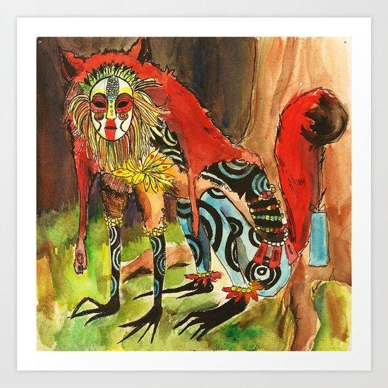 Fox Spirit Watercolor Art Print