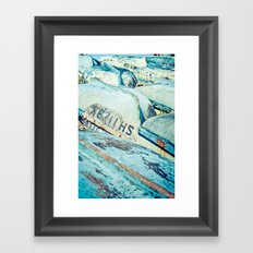 Brightly coloured fishing boats Framed Art Print