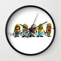 minions Wall Clocks featuring zombie minons by byron rempel