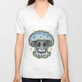 Blue Tentacle Toadstool Unisex V-Neck