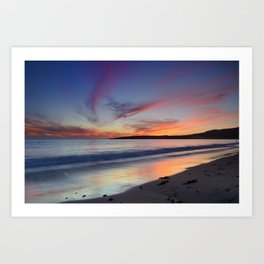 """Bolonia beach at sunset"" Art Print"