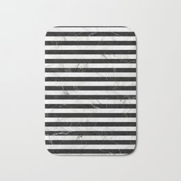 Marble Stripes Pattern - Black and White Bath Mat