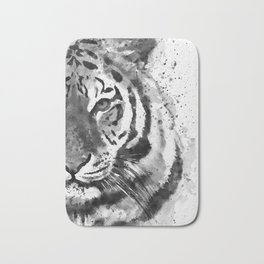 Black And White Half Faced Tiger Bath Mat