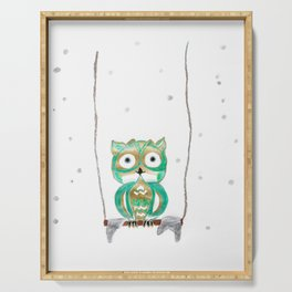 Owl Fun #1 #mint #green #gold #drawing #decor #art #society6 Serving Tray