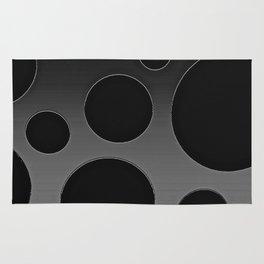 Contemporary Circle Silver and Black Rug