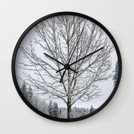 Lone Snow Covered Tree Wall Clock