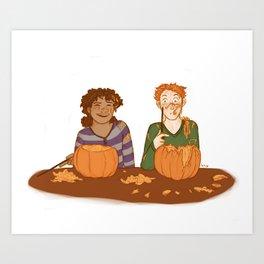 Pumpkin Caving Art Print