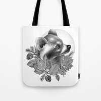 raccoon Tote Bags featuring RACCOON by Thiago Bianchini