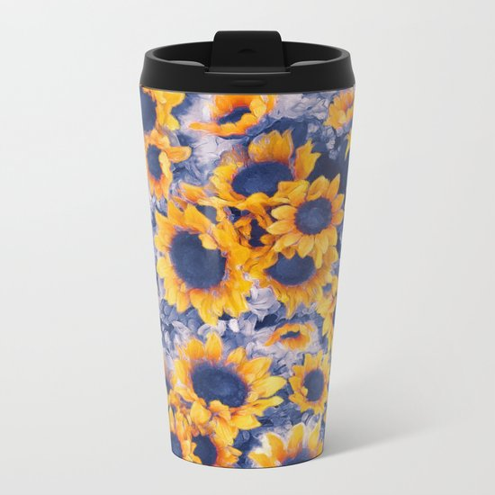 Sunflowers Blue Metal Travel Mug