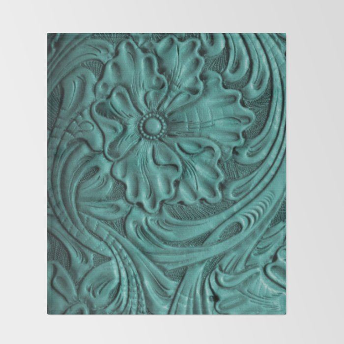 Teal Flower Tooled Leather Throw Blanket