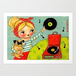 Record Player and Pug Art Print
