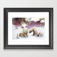 Polar Bears and Penguin Framed Art Print