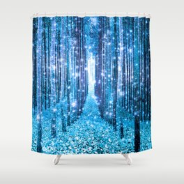 Magical Forest  Light Blue Turquoise Shower Curtain
