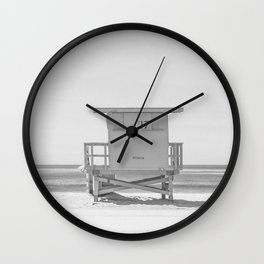 lifeguard stand b&w Wall Clock