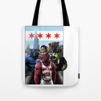 chicago bulls Tote Bags featuring Chicago Sports by Carrillo Art Studio