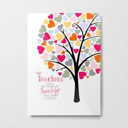 teacher heart tree, teacher Appreciation gift, thank you teacher Metal Print