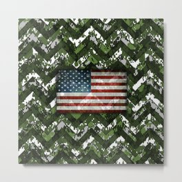 Green Digital Camo Patriotic Chevrons American Flag Metal Print