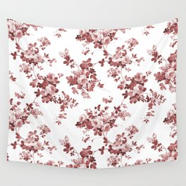 Shabby vintage coral burgundy brown roses floral Wall Tapestry