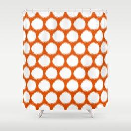 Persimmon Asian Moods Ikat Dots Shower Curtain