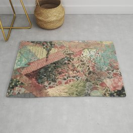 PIECES OF ME - Lovely Muted Pink Black White Floral Stripe Abstract Acrylic Fabric Collage Painting Rug