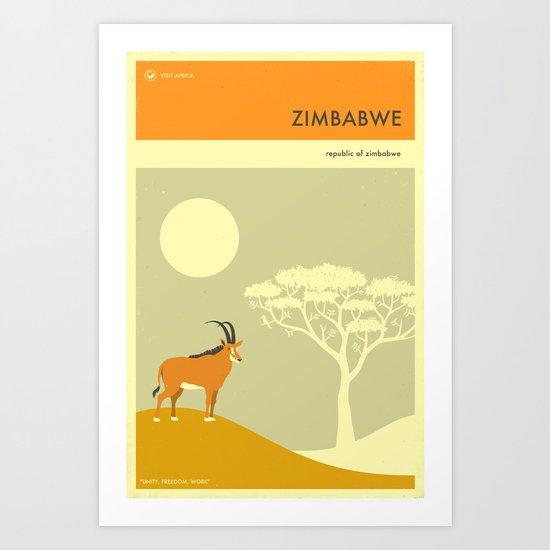 ZIMBABWE TRAVEL POSTER Art Print