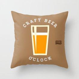 Craft Beer O'Clock Throw Pillow