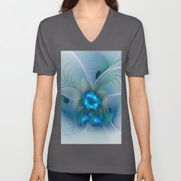Standing Ovations, Abstract Blue Fractals Art Unisex V-Neck