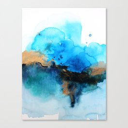 Blue gold flow abstract Canvas Print