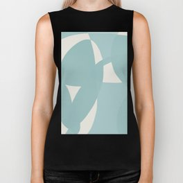 Abstract in dusty light blue and neutral shades Biker Tank