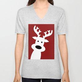 Reindeer on red background Unisex V-Neck