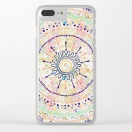 Whimsical watercolor tribal doddles mandala Clear iPhone Case