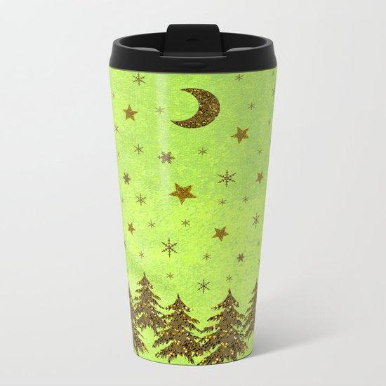 Sparkly Christmas tree, stars, moon on abstract green paper Metal Travel Mug