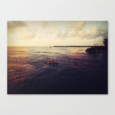 Rowing at Sunset Canvas Print