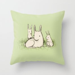 Bunny Family Throw Pillow