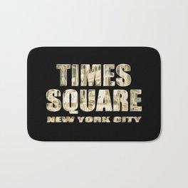 Times Square New York City (golden glow on black) Bath Mat