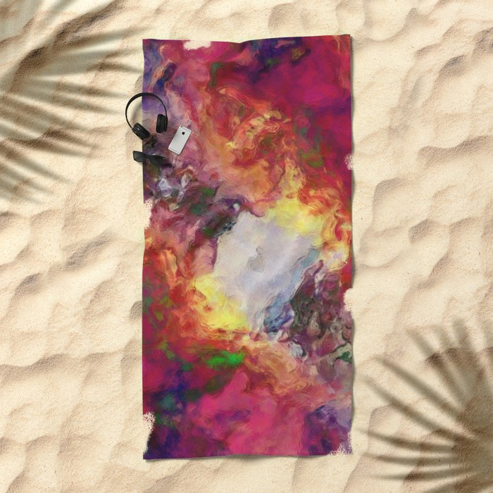 Shades of Red Abstract Beach Towel