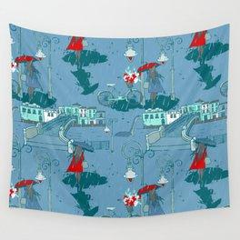 Rainy Day Umbrella and Irish Bridge Blue Vintage Romantic Art Wall Tapestry