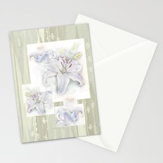 Lilies On Vintage Stationery Cards