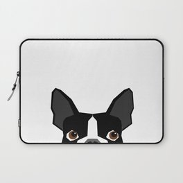 Boston Terrier head peeking cute dog gifts funny must haves boston terriers Laptop Sleeve