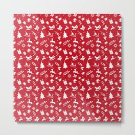 Red Christmas Pattern GIft Metal Print