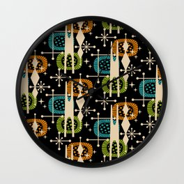 Retro Atomic Mid Century Pattern Black Orange Green and Turquoise Wall Clock