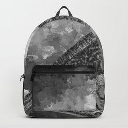 Watercolor Bird with a Berry (Black and White) Backpack